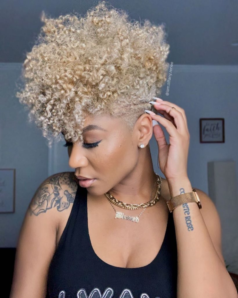 Curly Blonde Tapered Haircut