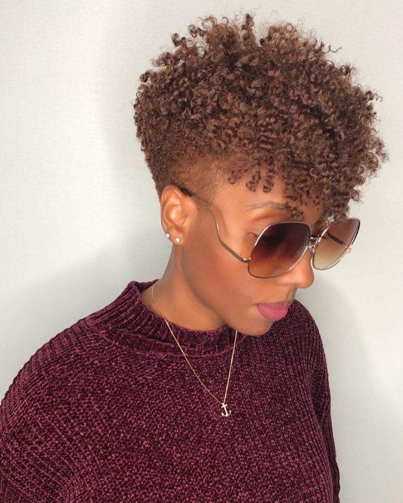 Copper Brown Twist Out Tapered Haircut